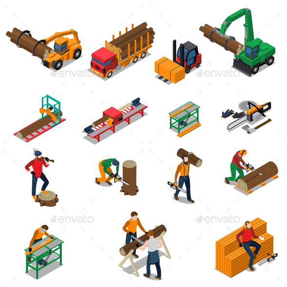 Sawmill Timber Mill Lumberjack Icon Set - Industries Business
