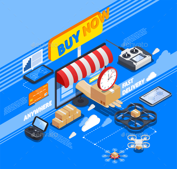 Delivery By Drones Isometric Composition - Concepts Business