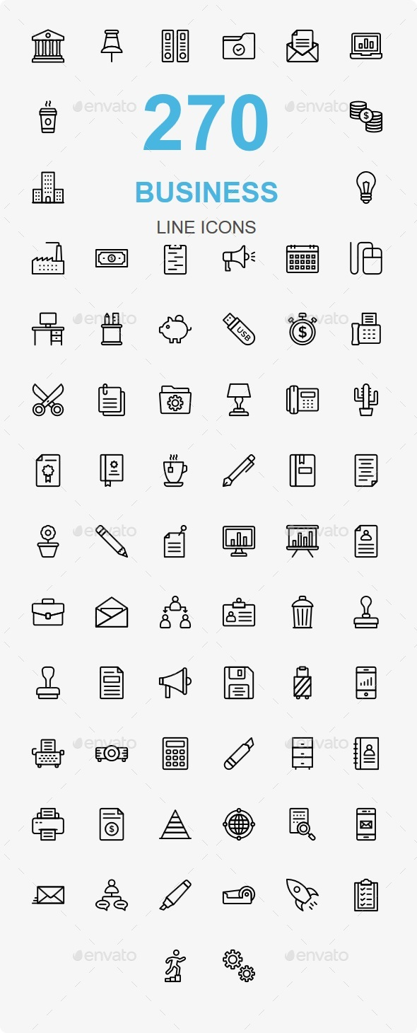 GraphicRiver Bussines and Office line icons 20682553