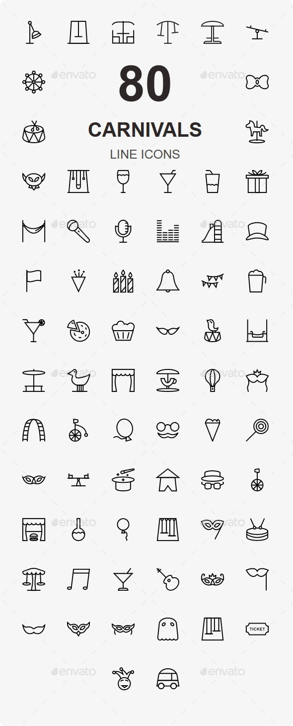 80 Carnivals Line Icons - Web Icons