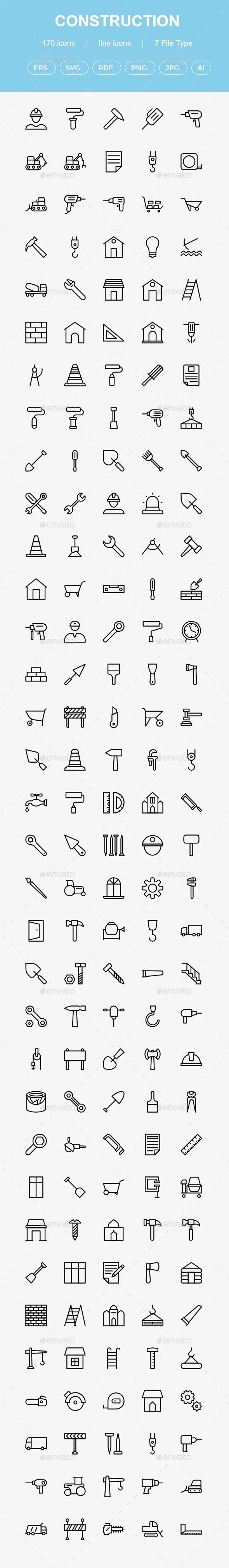 GraphicRiver Construction Line Icons 20682588