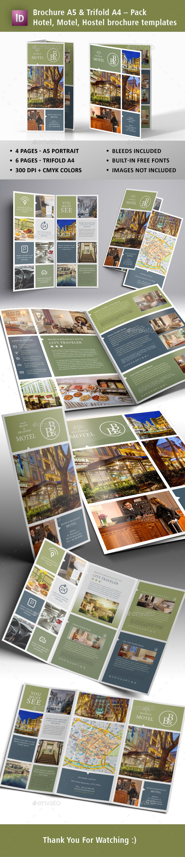 GraphicRiver Motel Hostel Hotel Brochures Templates 20682595