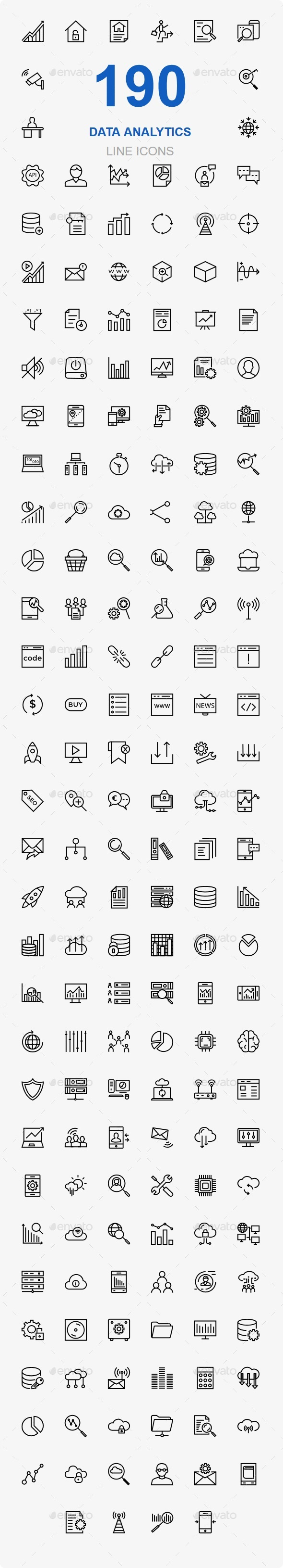 Data Analytics and Data Storage line icons - Business Icons