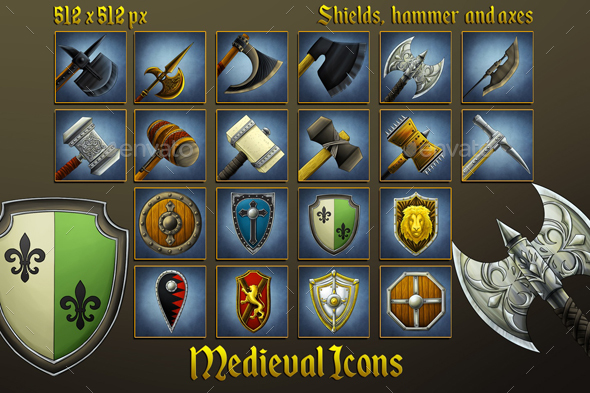 Middle Ages Icons: Shields, Hammers and Axes - Miscellaneous Game Assets