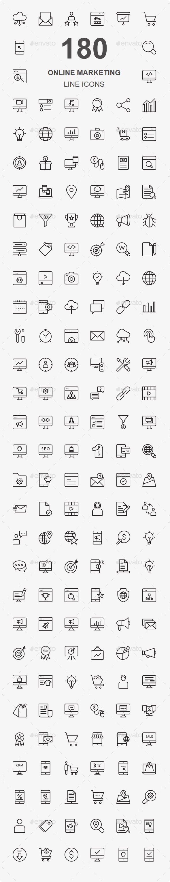 Online Marketing Line Icons - Business Icons
