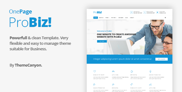 ThemeForest Probiz Onepage Creative Multipurpose Joomla Template 20328642