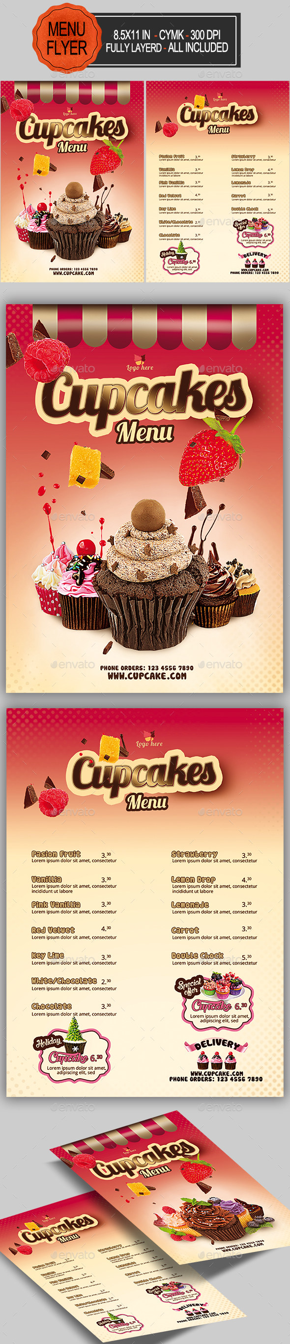 Cupcakes Menu - Food Menus Print Templates