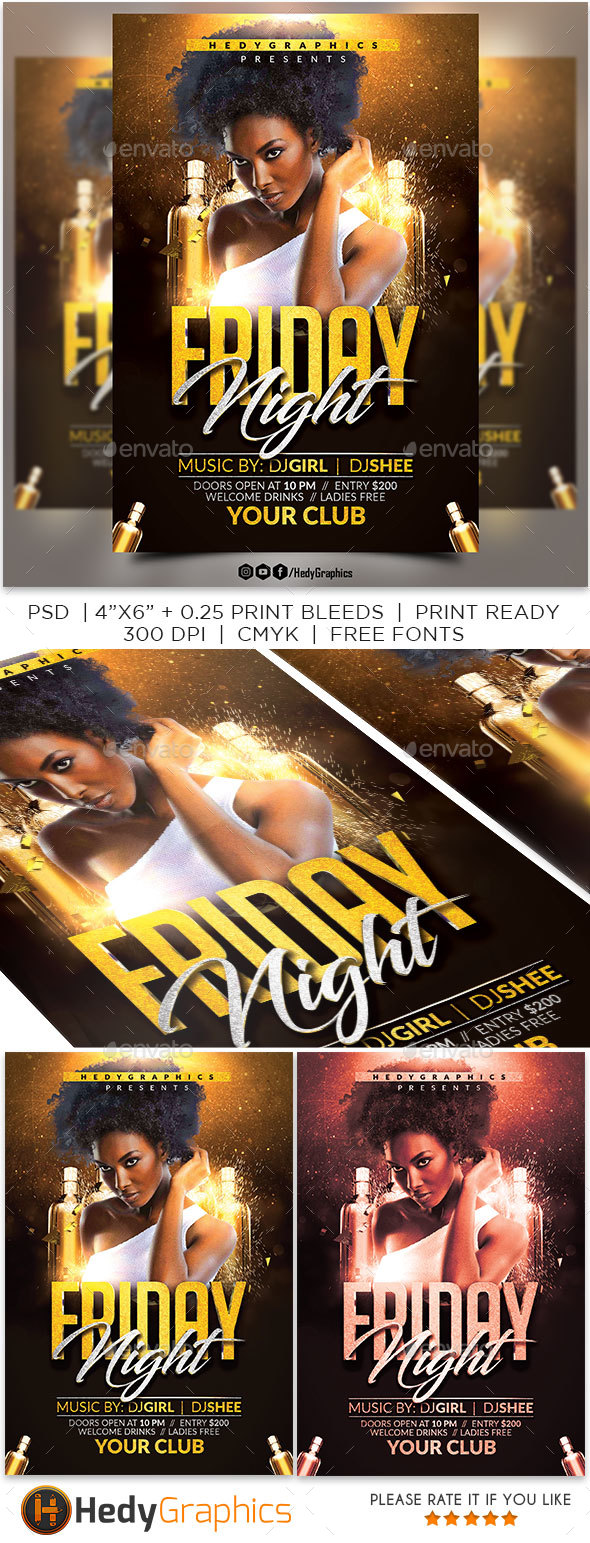 Friday Night Flyer - Clubs & Parties Events