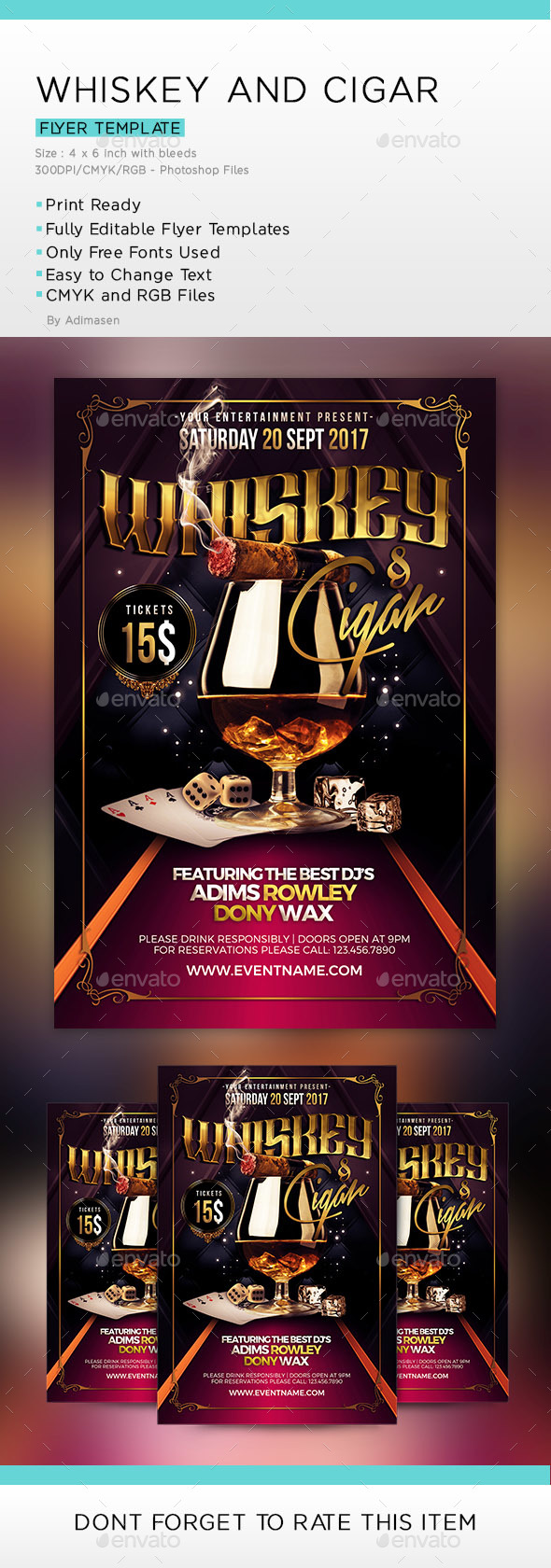GraphicRiver Whiskey and Cigar Flyer Template 20683478