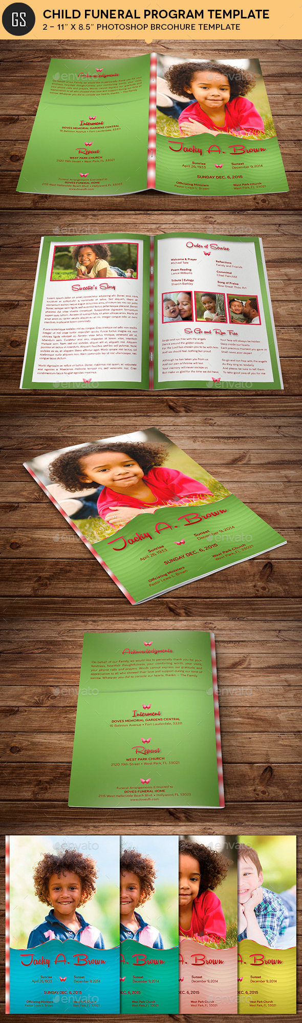 Child Funeral Program Template Photoshop - Informational Brochures