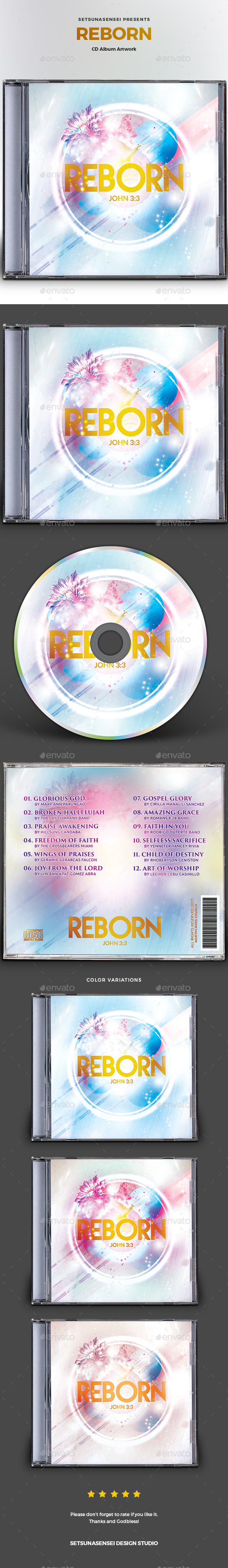 Reborn CD Album Artwork - CD & DVD Artwork Print Templates