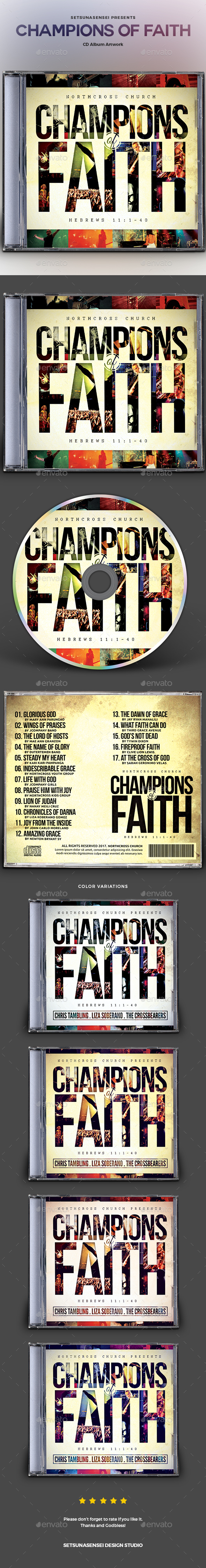 Champions of Faith CD Album Artwork - CD & DVD Artwork Print Templates