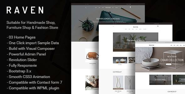 Raven – Responsive WooCommerce and Blog WordPress Theme