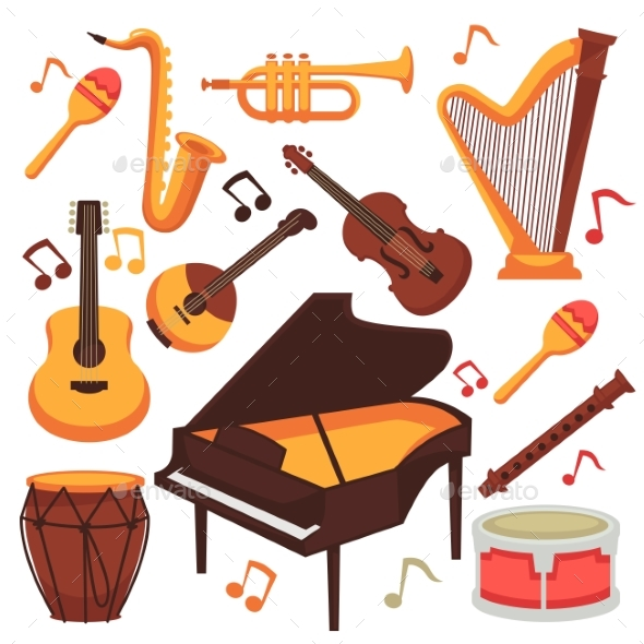 GraphicRiver Musical Instruments and Music Notes Vector 20683727