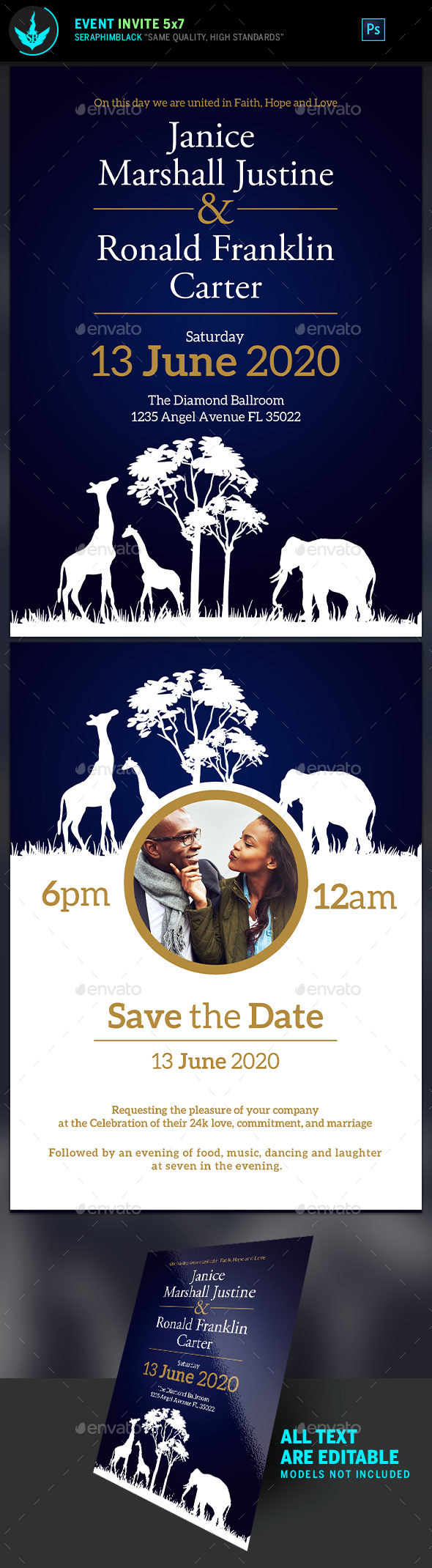 African Blue Wedding Invite Template