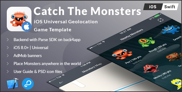 Catch The Monsters | iOS Universal Geolocation Game Template (Swift) - CodeCanyon Item for Sale
