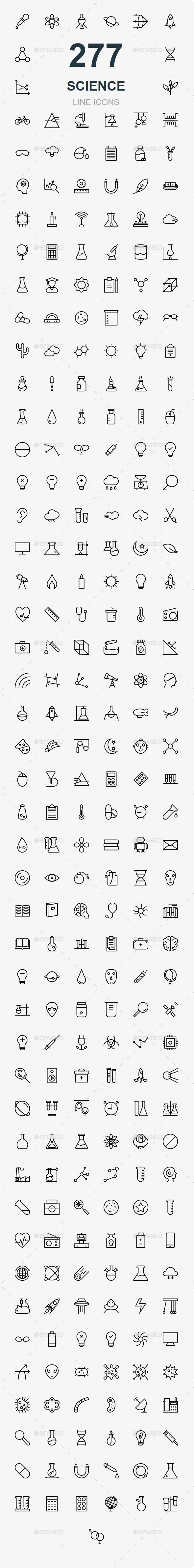 GraphicRiver Science Line Icons 20683834