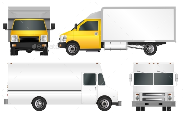 Set Truck Template. Cargo Van Vector Illustration - Man-made Objects Objects