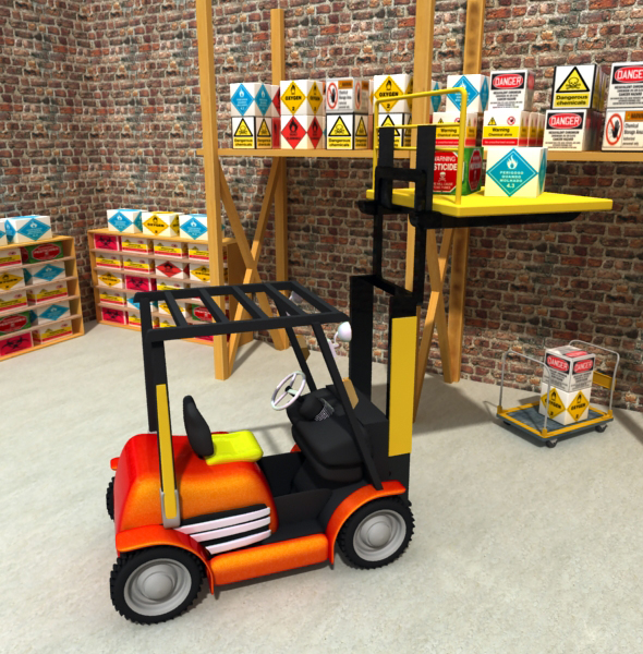 Low poly Fork Lift 3d Model. - 3DOcean Item for Sale