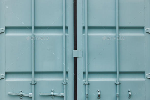 Cargo container doors in blue green tone. Delivery background. Horizontal - Stock Photo - Images