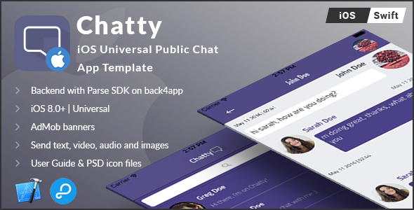 Chatty | iOS Universal Public Chat App Template (Swift) - CodeCanyon Item for Sale
