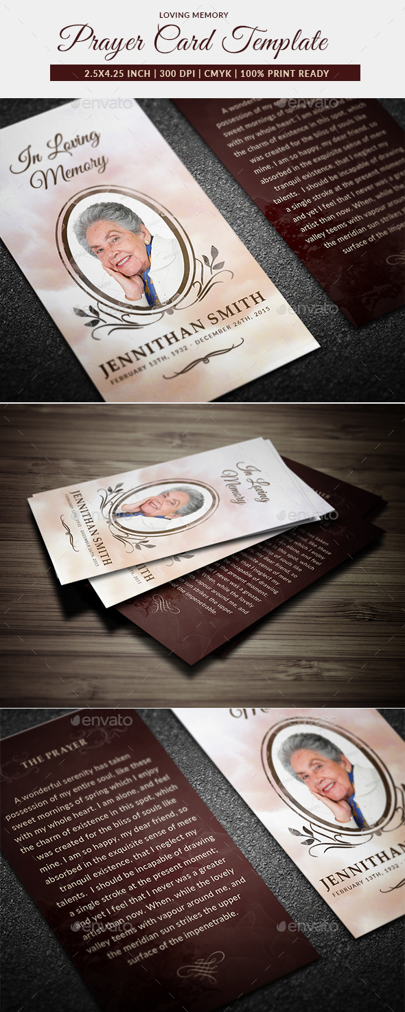 Loving Memory Funeral Prayer Card Template - Miscellaneous Print Templates