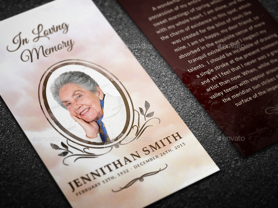 in memory cards templates - loving memory funeral prayer card template by