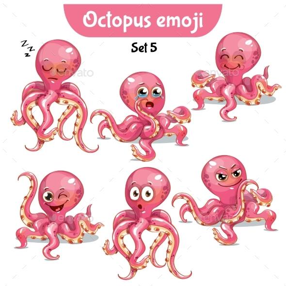 Vector Set of Cute Octopus Characters. Set 5 - Miscellaneous Vectors