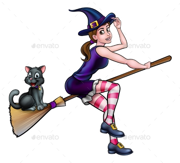 GraphicRiver Witch Cartoon Character Flying On Broomstick 20684896