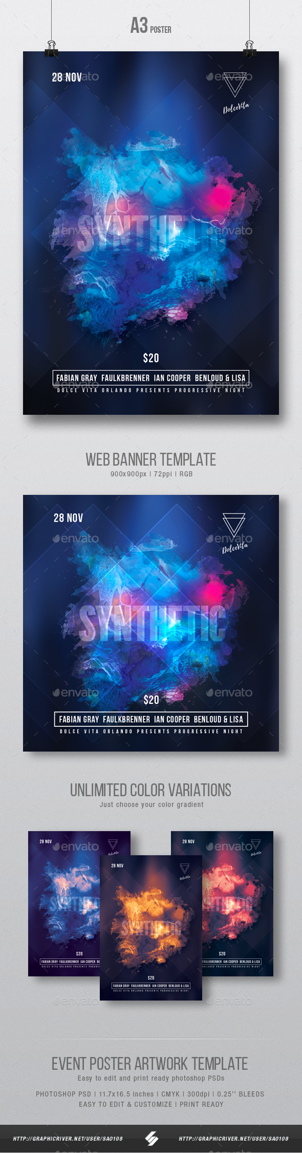 Synthetic - Abstract Glowing Party Flyer / Poster Template A3 - Clubs & Parties Events