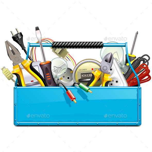 GraphicRiver Vector Blue Toolbox with Electric Tools 20685077