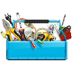 Vector Blue Toolbox with Electric Tools