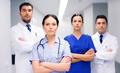 group of medics or doctors at hospital