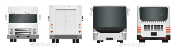 City Bus and Truck Template. Passenger Transport - Man-made Objects Objects