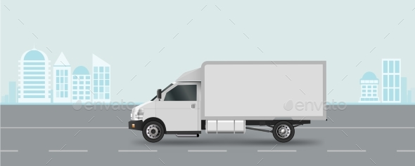 GraphicRiver White Truck on Road Cargo Van Vector Illustration 20685136