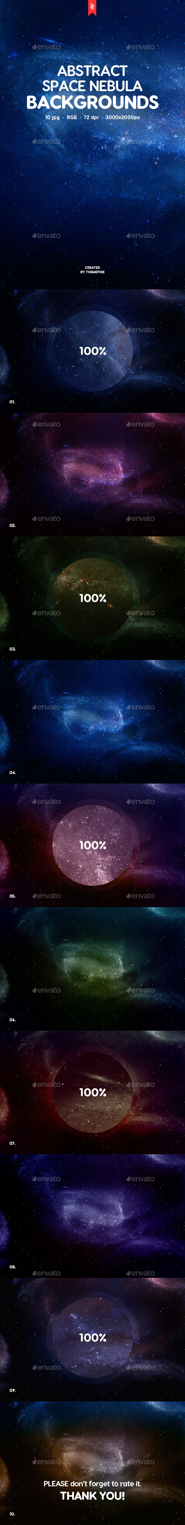 Abstract Space Nebula Backgrounds - Abstract Backgrounds