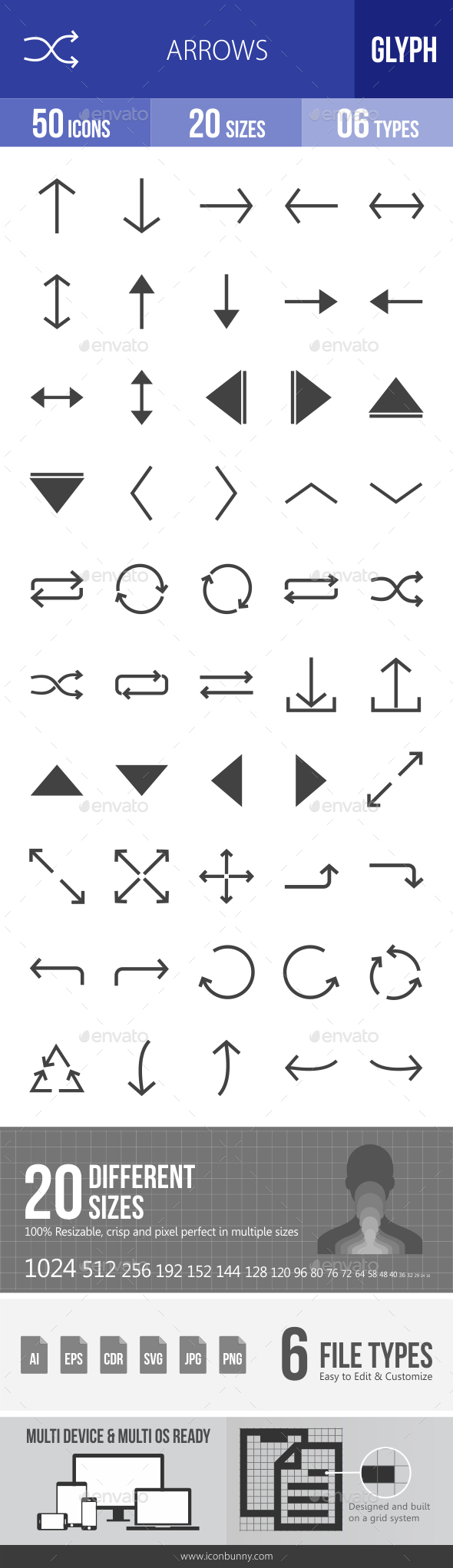Arrows Glyph Icons - Icons