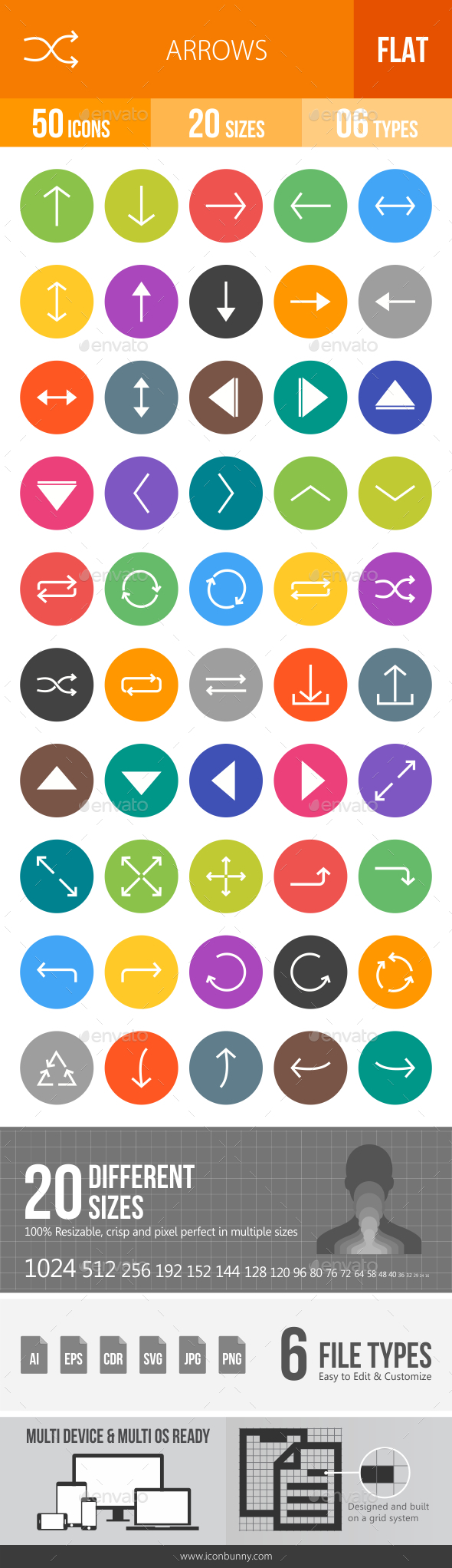 Arrows Flat Round Icons - Icons