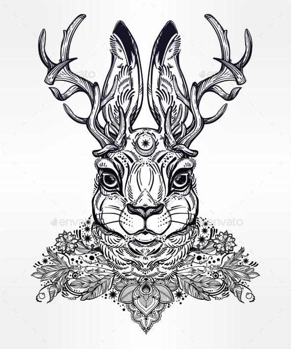 GraphicRiver Ornate Decorative Jacalope Magical Creature Art 20685257