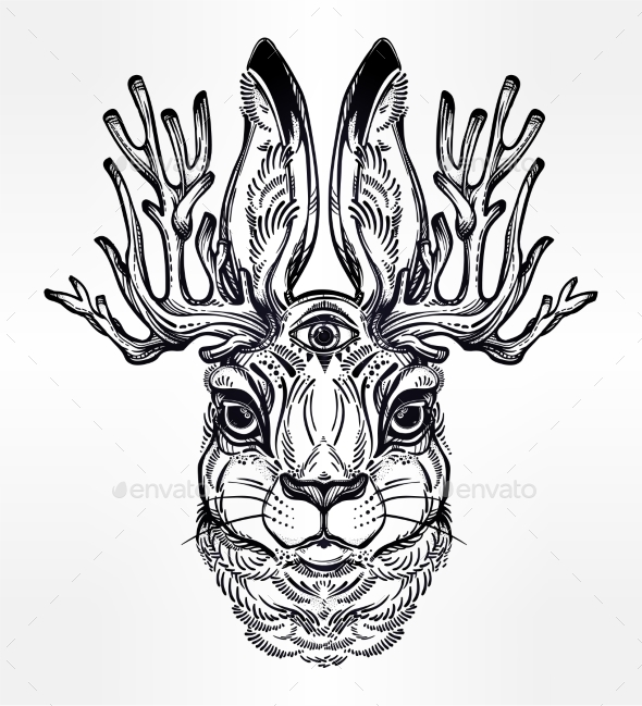 GraphicRiver Jacalope Three Eyed Magical Creature Portrait 20685265