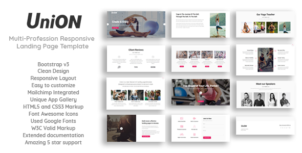 Union - Multi-Profession Responsive Landing Page Template - Landing Pages Marketing