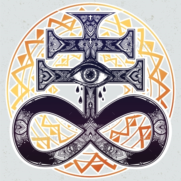 GraphicRiver The Satanic Cross with Evil Eye Demon Leviathan 20685291