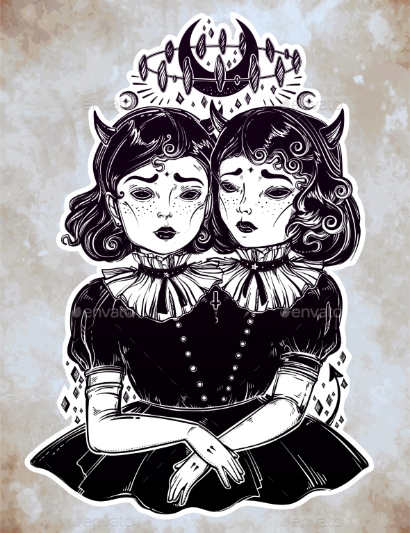 GraphicRiver Gothic Witchcraft Siamese Twins 20685315