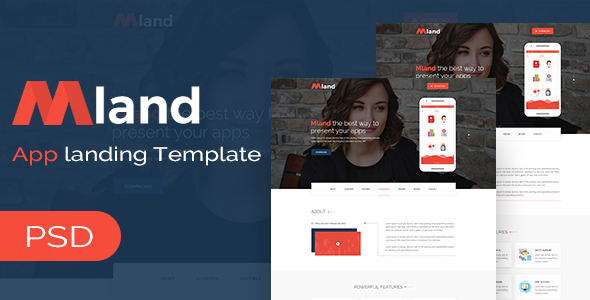 Mland - Apps Landing PSD Template - Marketing Corporate