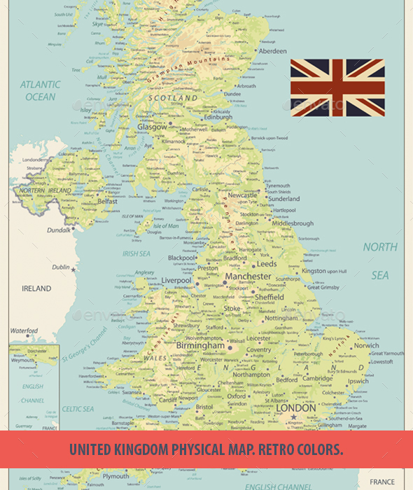 GraphicRiver United Kingdom Physical Map Retro Colors 20685544