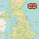 United Kingdom Physical Map Retro Colors