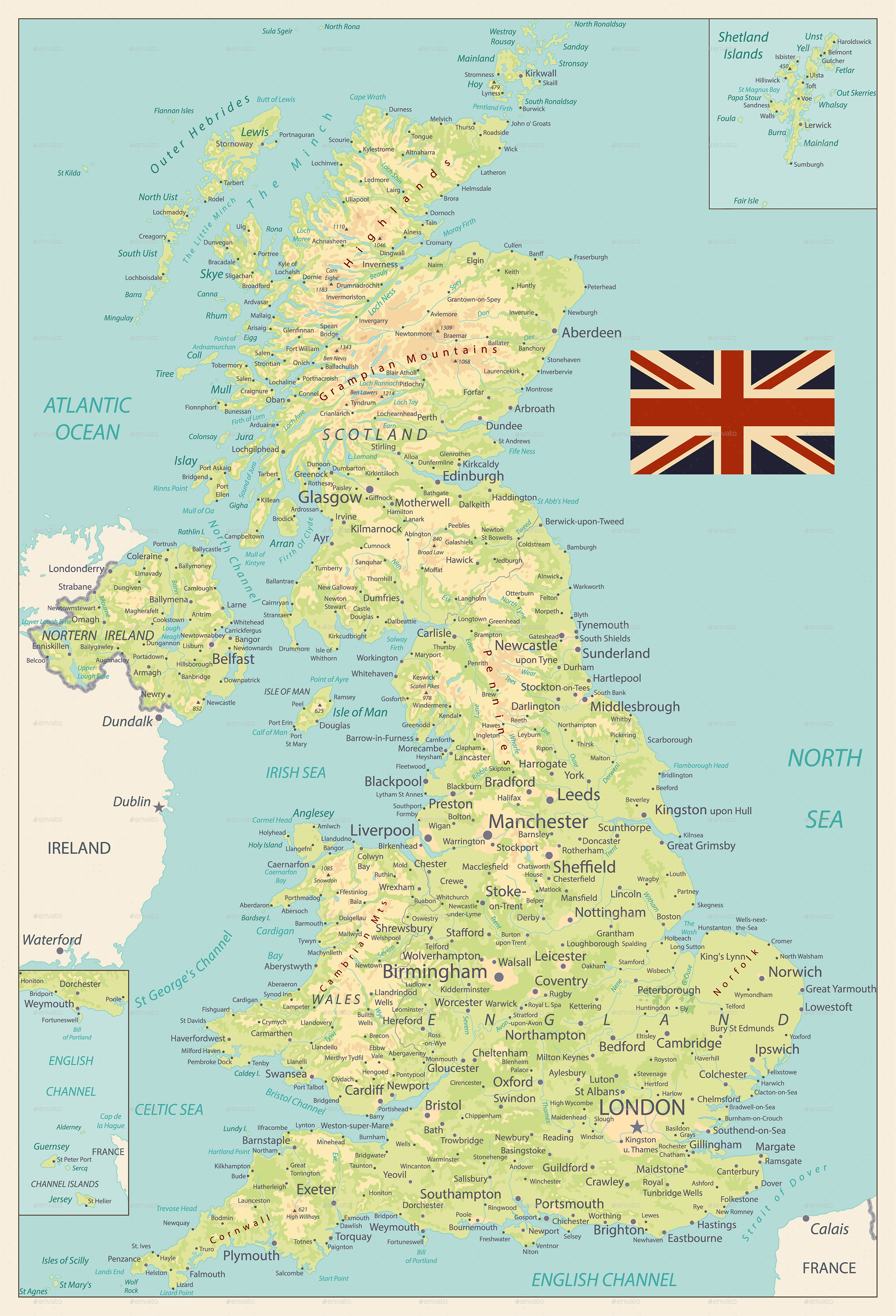 Picture of: United Kingdom Physical Map Retro Colors By Cartarium Graphicriver