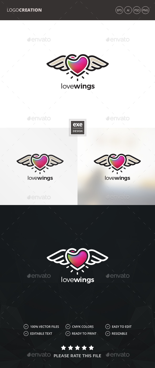 GraphicRiver Heart Wings Logo 20685581