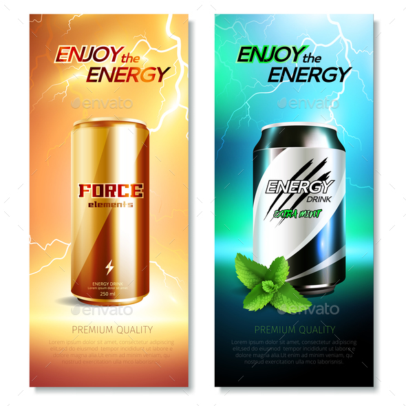 GraphicRiver Aluminum Cans Drinks Vertical Banner Set 20685636