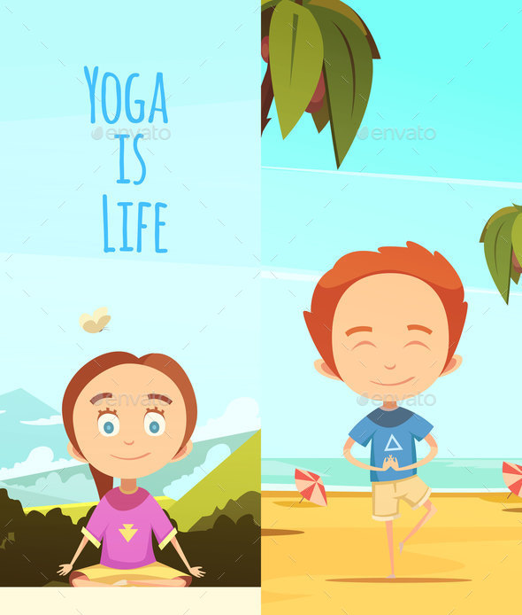 GraphicRiver Yoga is Life Two Vertical Banners 20685701